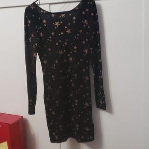 GUESS Midi dress, Sz. M- Black w/ Tan (ish) stars